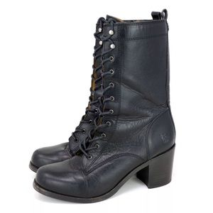 Frye Kendall Lace Up Black Leather Mid-Calf Boots